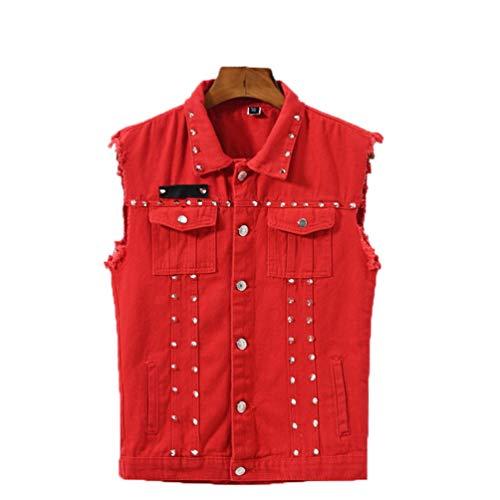 -Stil Denim Westen mit Nieten Straße ärmellose Jean Jacken männliche Streetwear Weste Red XXXL ()