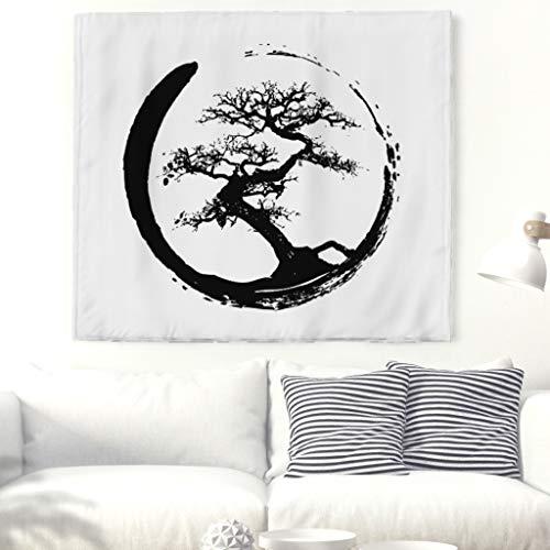 Arredo da parete etnico con albero della vita, colore nero, bianco, albero, colorato, arte da parete, tappezzeria, paesaggio naturale, da parete, indiano, mandala, spiaggia 59x51inch bianco