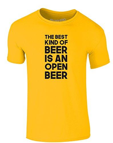 Brand88 - The Best Kind Of Beer Is An Open Beer, Erwachsene Gedrucktes T-Shirt Gänseblümchen-Gelb/Schwarz