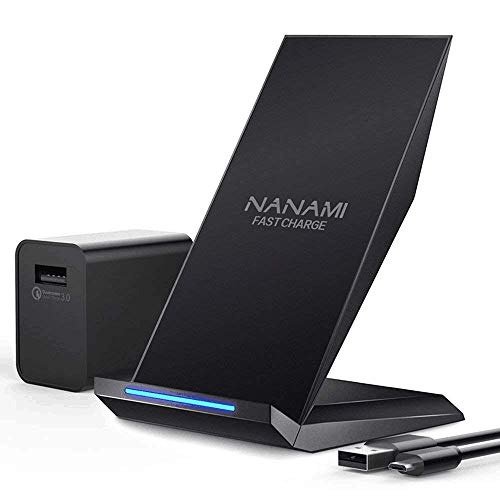 NANAMI Fast Wireless Charger, Qi Ladegerät (mit Quick Charge 3.0 Adapter) für iPhone 11/X/XS/XS Max/XR/ 8/8 Plus,10W Schnelles kabelloses Ladegerät Induktive Ladestation für Samsung Galaxy S10 S9 S8