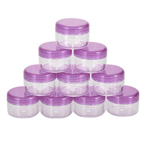 Demiawaking 10Pcs 5g/ml Kosmetische Leere Acryl Topf Lidschatten Make-up Gesicht Creme Container (Lila) (Lila Creme Make Up)