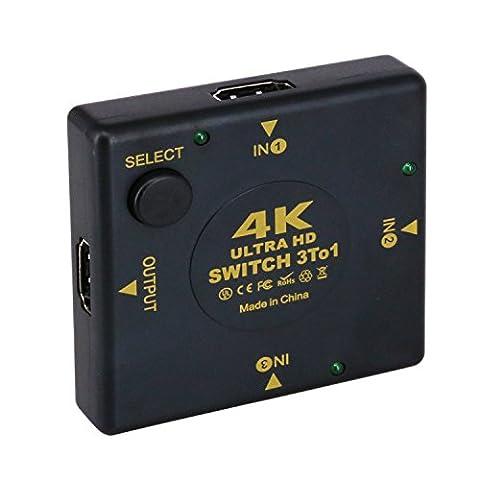Loutoc commutateur HDMI, sortie HDMI Splitter 3en 1, 4K Ultra HDMI Audio Vidéo Switcher répartiteur avec 1080p pour