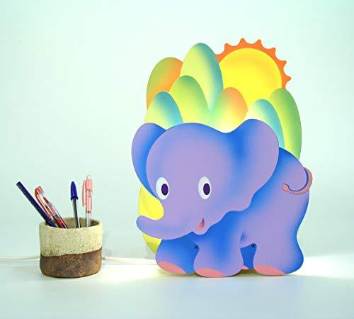 Lampara infantil de madera con un'elefante', regalo original y personalizado.