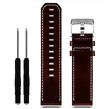 Ularma Bande de montre de remplacement luxe PU cuir sangle avec outils pour Garmin Fenix 3,brun