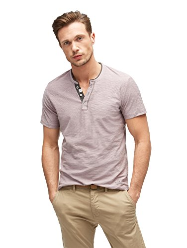 TOM TAILOR Herren T-Shirt NOS Basic YD Henley, Grau (Smoked Pearl Grey 2103), X-Large (Henley T-shirt Jersey)