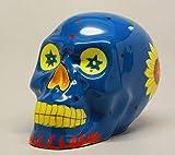 MEXICAIN Tête de mort - Céramique Bleu - Figurine décorative Multicolore