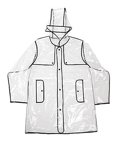 DSstyles Mode Lovely Girl femmes imperméable à capuchon transparent imperméable 100% EVA ville noir bord court style de piste Rainwear