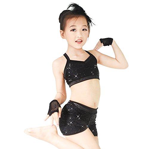 MiDee 2 Stücke Voller Pailletten Tanz Kostüm Crop Tops Hip Hop Biketard Gym Uniform (Schwarz, MA) (Zeitgenössischer Tanz Kostüme Schwarz)