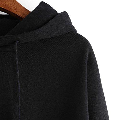 Felpe Donna Yanhoo Donna ricamo applique manica lunga Felpa con cappuccio maglione pullover Nero