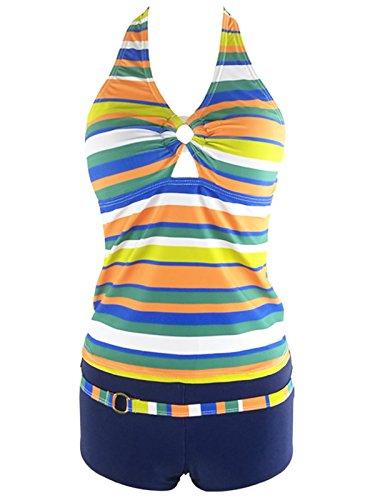 Luxus Badeanzüge (Azue Damen Mädchen Tankini 2 Teilig Badeanzug mit Shorts Bauchweg Bademode Oversize Schwimmanzüge Gelbe Streifen L)