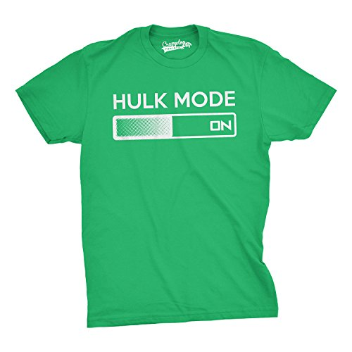 Crazy Dog TShirts - Hulk Mode On T Shirt Funny Comic Book Super Hero Hilarious Workout Shirts (green) XXL - herren - XXL (Erwachsenen Hero T-shirt Super)