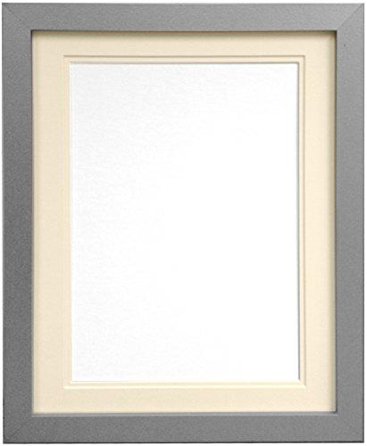 Frames By Post H7Bilderrahmen mit elfenbeinfarbenem Doppel-Passepartout für Bildgröße 10x 15cm, silber, A4