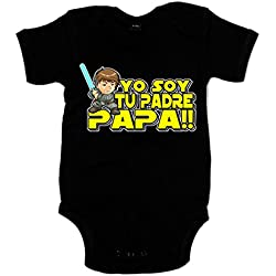 Body bebé Star Wars Luke Skywalker yo soy tu padre - Negro, 12-18 meses