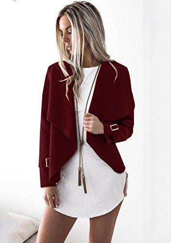 Minetom Donna Invernale Elegante Manica Lunga Aperto Davanti Colletto Cappotto Casual Giacca Blazer Corto Cardigan Kimono Giubbino Coat Vino rosso