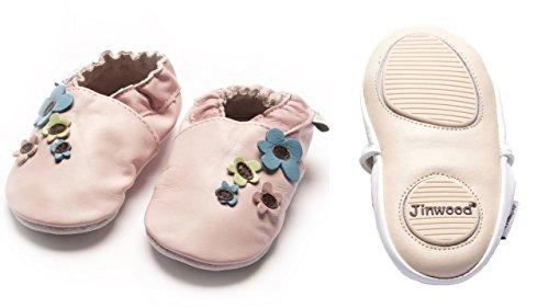 Jinwood - celebration - mini shoes - Blumen - Hausschuhe - Lederpuschen - Krabbelschuhe - by amsomo Pink