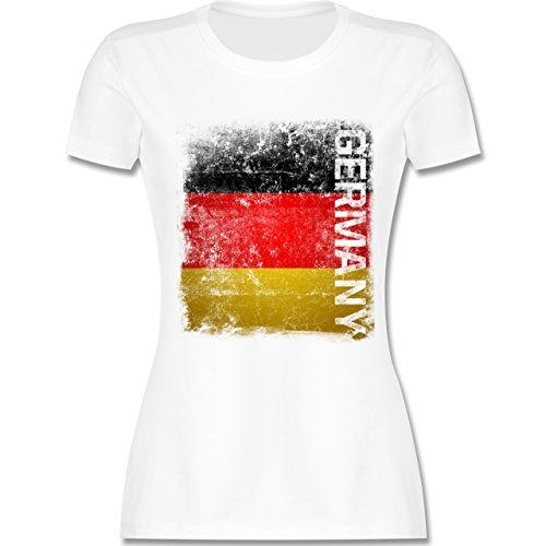 Fußball-Europameisterschaft 2020 - Germany Vintage Flagge - XL - Weiß - L191 - Damen Tshirt und Frauen T-Shirt