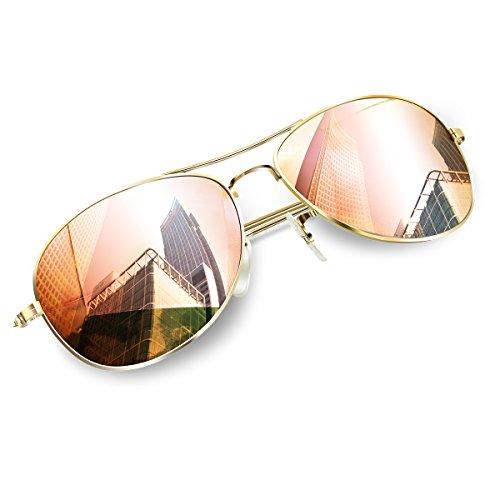 Wenlenie Pilotenbrille Klein Flieger Sonnenbrille Polarisierte Teenager Damen, klein für Kopf Rosa...