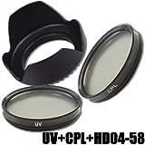 DynaSun Kit Pro 58mm UV mit CPL Zirkular Polfilter und Gegenlichtblende für Gewinde