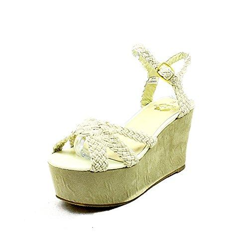 sendit4me Sandales Compensées Beige Plate-Forme/Chaussures avec Bracelet Noeud à LAvant Beige