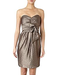 Metallic Bronze Bow Front Evening Cocktail Bandeau Dress