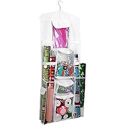 ProCase Sac de Rangement Suspendu pour Emballages de Cadeaux, Sac de Double Face Mural avec Plusieurs Poches Transparentes, Crochet Pivotant à 360 Degrés pour Petits Accessoires -Blanc