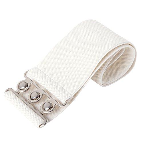 Frauen Elastic Buckle Breiter Guertel Ivory Medium CL008962-3