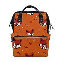 ALINLO Cute Cartoon Fox Head Pattern Diaper Bags Mummy Tote Bags Large Capacity Multi-Function Backpack for Travel