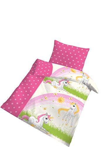 2 tlg Kinder Baby Bettwäsche 100x135cm Einhorn pink Biber 1B Baumwolle