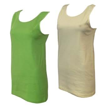 2 Damen Unterhemden Feinripp supergekämmte Baumwolle in 8 tollen Farben, Farbe:gelb/grün;Größe:36/38