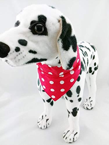 Hundehalstuch als Halsband Verstellbar optional mit Wunsch Namen bestickt rot Punkte Halstuch Tuch