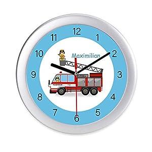 Wanduhr Feuerwehr mit Namen Kinderuhr Feuerwehrmann personalisierte Uhr Kinderzimmer kein Ticken