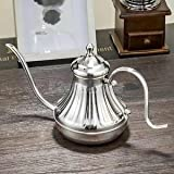 Stainless Steel Household Drip Brew Long Mouth Fine Coffee Pot Teapot Silver