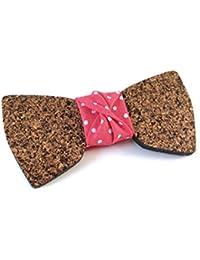 """GIGETTO Papillon in legno di sughero Limited Edition """"l'Eclettico"""", con nodo in tessuto rosso a pois, cinturino regolabile"""