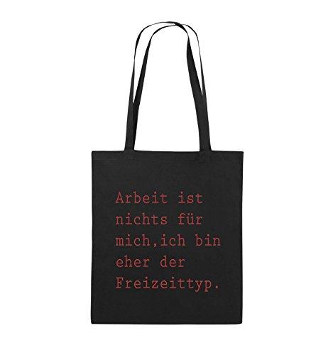 Comedy Bags - Arbeit ist nichts für mich, ich bin ehr der Freizeittyp - Jutebeutel - lange Henkel - 38x42cm - Farbe: Schwarz / Pink Schwarz / Rot