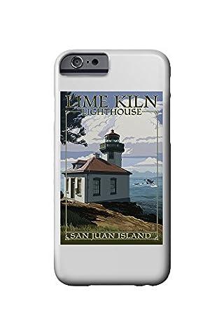 San Juan Island, Washington - Lime Kiln Lighthouse Day Scene (iPhone 6 Cell Phone Case, Slim Barely There)
