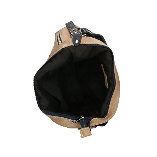Chicca Borse Clutch Borsetta Borsa a Spalla da Donna con Tracolla in Vera Pelle Made in Italy - 23x14x8 Cm Blu - Fango