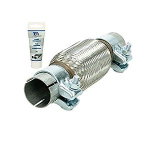 Universal Flexrohr - 45 x 150 mm - mit 2 Schellen - aus Edelstahl - Interlock - Montage ohne Schweißen + Auspuff-Montagepaste 60g - flexibles Rohr - Flexstück Wellrohr Hosenrohr Auspuff Abgasanlage