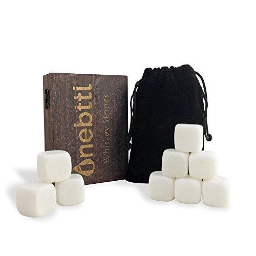 Natürliche Marmor (Whisky Steine Aus Natürlichem Marmor Zum Kühlen Von Whiskey Geschenke Für Whiskyliebhaber - Wiederverwendbare Eiswürfel - Weihnachten Whiskyzubehör - Kühlwürfel - Erntedankfest Bar Accessoires)