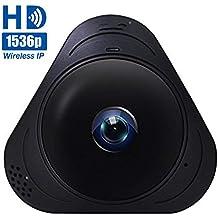 1536P IP Cámaras de Vigilancia Wifi, Cámara de Seguridad Panorámica de 360°, Deteccion