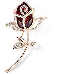 Broche Fantaisies Fleur Rose Crystal Bijoux pour Femme - Vêtement Broches Accessoires