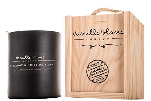 Vanilla Blanc Koscher Soja-Kerze, matt, in handgearbeiteter Holz-Geschenkbox, Bergamotte & Huile de Ylang, Weiß, Einheitsgröße -