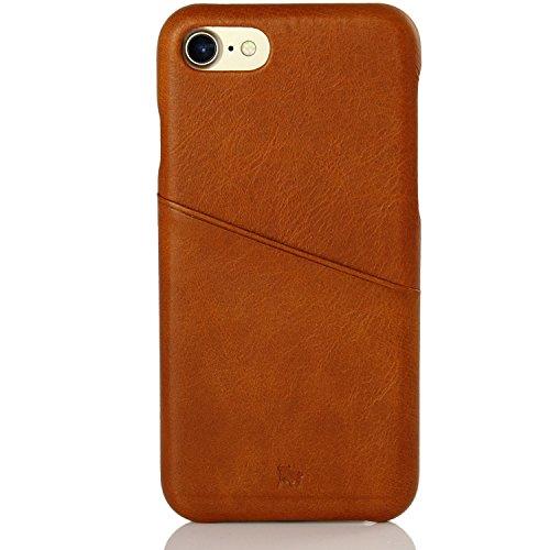 BULLAZO MENOR URBAN Apple iPhone 7 iPhone 8 Hülle aus Leder | Handyhülle mit Kartenfach | dünne flache slim Echtleder Schutzhülle Ledercase Lederhülle Case mit Kreditkarte | grau Cognac Braun