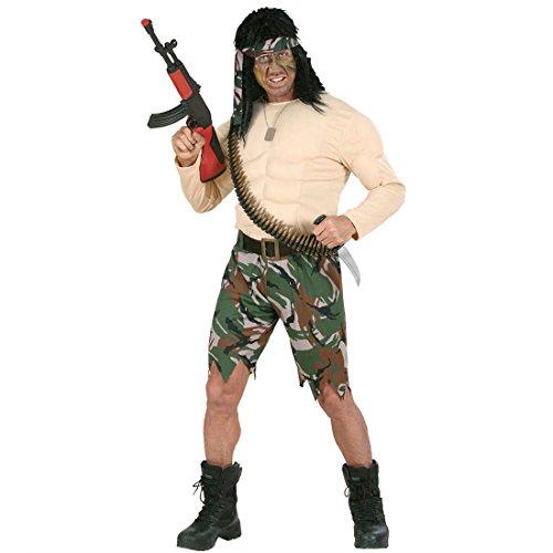 NET TOYS Rambo Kostüm Soldat mit Muskeln Muskelkostüm Muskel Kostüm Freiheitskämpfer Kämpfer Gr M 46/48