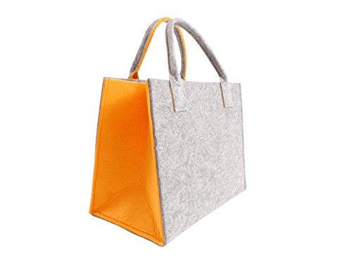 Filztasche Einkaufstasche Tasche Shopper ca. 35 x 20 x 28 cm (Hellgrau-Orange)