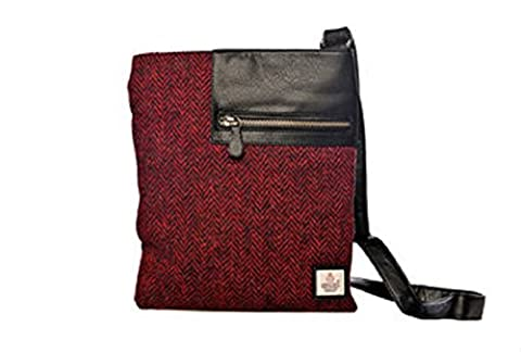 Red Harris Tweed Cross Body Bag - Official Product of Glasgow 2014 Commonwealth Games