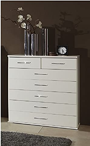Germanica™ SPARKLING Bedroom Furniture 7 Drawer Chest Of Drawers In WHITE Finish With Rhinestone Gem Strips For That Extra Sparkle
