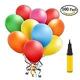 Luftballons Bunt 100 Stueck, Helium Luftballons, Pumpe Luftballons Bunte Ballons Dekorationen für Party Geburtstags kindergeburtstag Hochzeit( 100 Stück )
