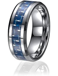 8mm Tungsten Blue Carbon Fiber Mens Wedding Ring Engagement Bands