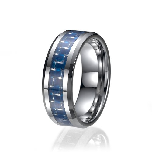 ND Outlet - Tungsten Rings 8mm Tungsten Blue Carbon Fiber Mens Wedding Ring Engagement Bands (Mens-outlet)