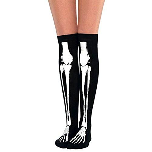HENCY Halloween Skelett Strümpfe Tod Knochen Fasching Socken Schwarz